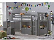Milo Sleep Station Desk Storage Kids Bed Grey With