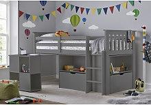Milo Sleep Station Desk Storage Kids Bed Grey