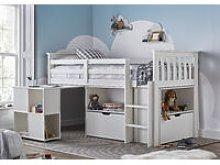 Milo Sleep Station Desk Storage Kids Bed White