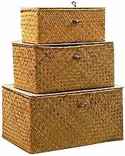 Milopon Storage Basket with Lid, Seagrass Basket
