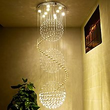 MILUCE Modern Clear K9 Crystal Spiral Ball Ceiling