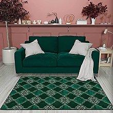 MIMI KING Vintage Emerald Green Pattern Area Rug,