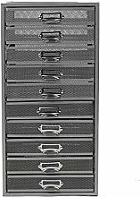 Mind Reader Mesh 10 Cabinet, Metal Drawers, File,