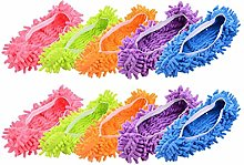 MINGZE 10pcs (5 Pairs) Duster Mop Slippers Shoes