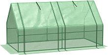 Mini Greenhouse Wide Low Steel Frame Mesh w/ 2