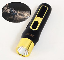 Mini LED Flashlight (black), Flashlight with Light Weight and Yellow Light, Ideal for Reading, Camping, Walking