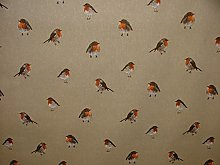 Mini Print Robin Redbreast Country Side Linen Look