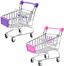 Mini Shopping Cart Trolley, 2 Pcs Storage Basket