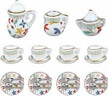 Miniature Porcelain Tea Cup Set Dollhouse