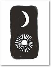 Minimalist Black White SUN AND MOON Art Print
