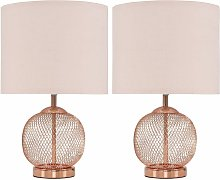 MiniSun - 2 x Copper Touch Table Lamps With Pink