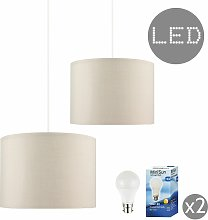 MiniSun - 2 x Cotton Ceiling Pendant Table Or