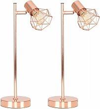 MiniSun - 2 x Desk Lamps in a Copper Finish - No