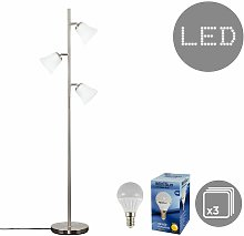MiniSun - 3 Way Brushed Chrome Floor Lamp +