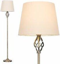Minisun - Antique Brass Barley Twist Floor Lamp -