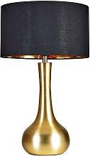 MiniSun - Large Satin Gold Table Lamp With Large