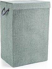 Minky Laundry Hamper/Basket Grey Check In Canvas