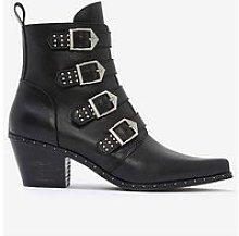 Mint Velvet Lou Leather Buckle Cowboy Boots - Black