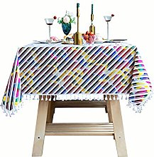 MiQueen Color Striped Tassel Tablecloth Washable