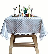 MiQueen Tablecloth Striped Tassel Washable