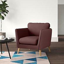 Mira Armchair Hykkon Upholstery Colour: Burgundy
