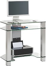 Mirabelle Glass Computer Desk With White Metal