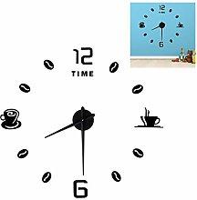 Mirror Sticker Clock, Large Size DIY Clock,
