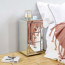 Mirrored Diamond Glass Bedside Cabinet Unit with 3