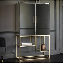 Mirrored Drinks Cabinet with Gold Finish - Caspian