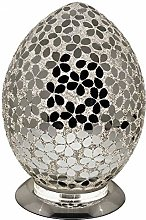 Mirrored Flower Mosaic Glass Vintage Egg Table