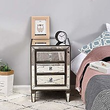Mirrored Glass Bedside Cabinet Unit with 3 Drawer