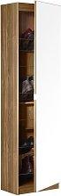 Mirrored Shoe Cabinet - Oak Effect.