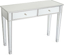 Mirrored Table Modern Luxury Glass Desk with 2