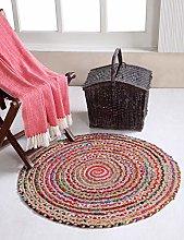 Mishran Eco Friendly Small Round Braided Rug Flat