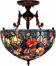 MISLD 16 Inch Garden Ceiling Lamp Tiffany Style