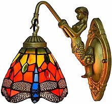 MISLD Red Wall Lamp European Retro Tiffany Stained