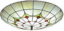 MISLD Tiffany Ceiling Lamp With Handmade Dragonfly