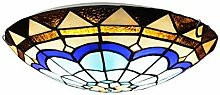 MISLD Tiffany Style Ceiling Lamp, Round