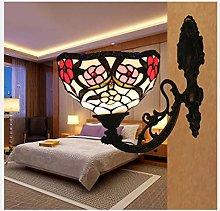 MISLD Wall Light Tiffany Style Wall Lamp Bedroom