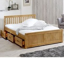 Mission Waxed Pine Wooden Storage Bed Frame - 4ft
