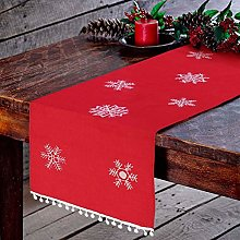 MissZZ Christmas Embroidered Table Runner White