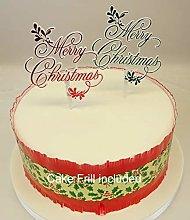Mistletoe Merry Christmas Plastic Decoration Cake