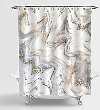 MitoVilla Gray Marble Shower Curtain Set with