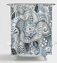 MitoVilla Vintage Gray Paisley Shower Curtain for