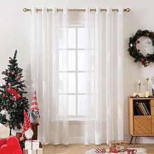 MIULEE 2 Panels Leaves Embroidery Sheer Curtains