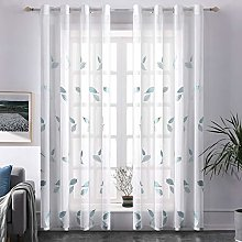 MIULEE 2 Panels Leaves Sheer Curtains Transparent