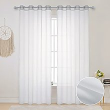 MIULEE 2 Pieces White Outdoor Sheer Curtain Drape
