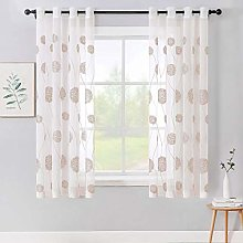 MIULEE Embroidery Sheer Curtains Flora Design