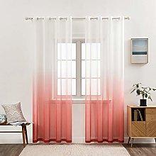 MIULEE Gradient Color Sheer Curtains Grommet