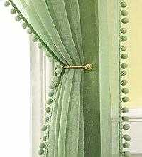 MIULEE Pom Poms Curtain Voile Sheer Translucent